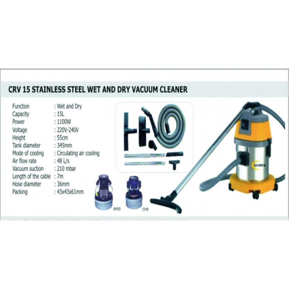 CRV 15Ltr Stainless Steel Wet & Dry Wacuum Cleaner