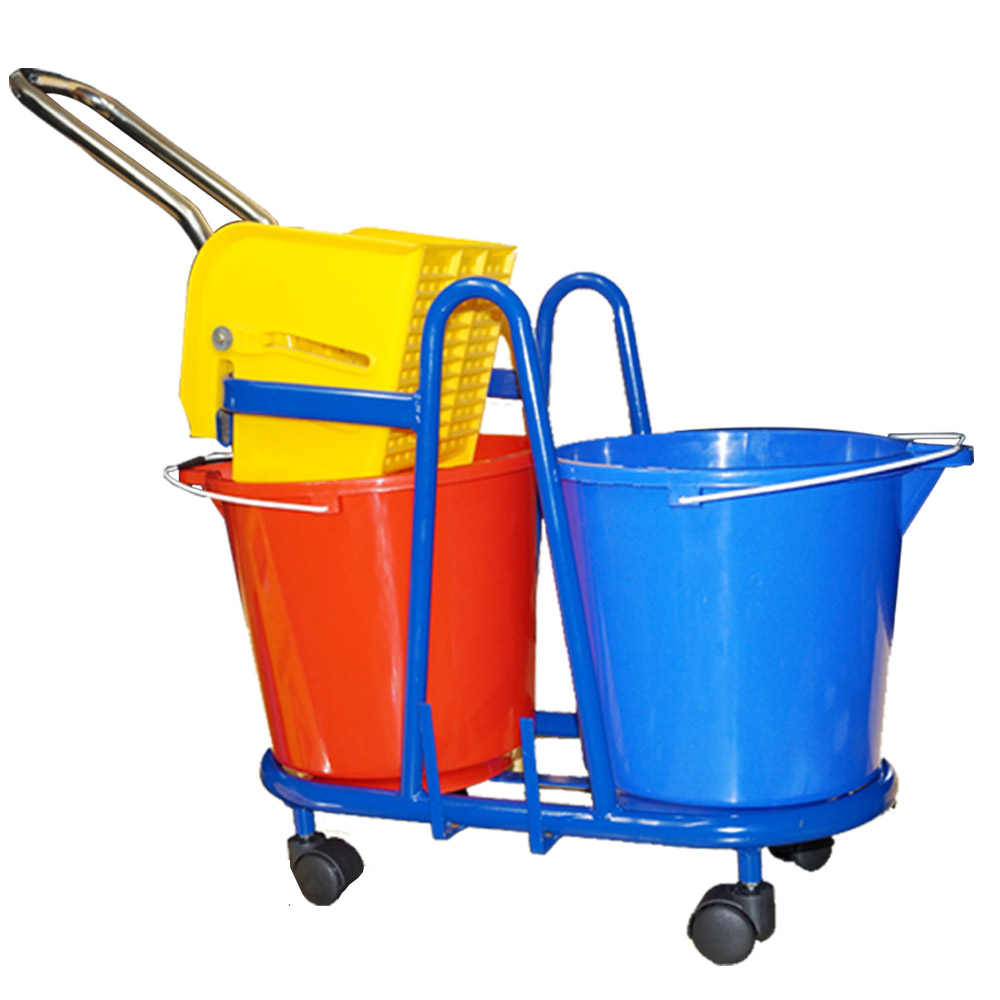 Wringer Trolley Mop Bucket Double MS Powder Coated (32 Ltrs)